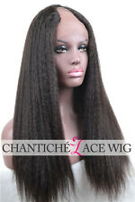 5A U Part Wig Kinky Straight Brazilian Virgin Human Hair Italian Yaki Lace Wigs