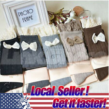US Crochet Lace Trim Cotton Bow Knit Leg Warmers Boot Socks Knee High Black Grey