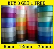 32 meters! Full Reel Satin Ribbon 6mm 12mm 25mm Single Faced Sided Many Colours