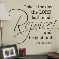 Religious Vinyl Wall Lettering Rejoice and be Glad Psalm 118:24 Quote Decal