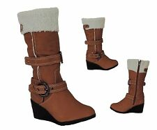 Kids Girls Wedge Boots Mid Calf Warm faux sheepskin Youth Shoes Black Brown Soon