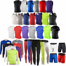Mens Sports Compression Base Layers Tops Tight Skin T-Shirts Vests Pants Shorts
