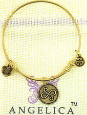 ANGELICA CHARM BRACELET BANGLE YELLOW WHITE SILVER BEST FRIEND FAMILY LOVE 1084