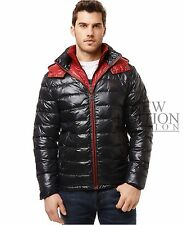 Buffalo Men Winter Hooded Quilted Down Bubble Coat Puffer Jacket Black & Red