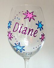 Personalised Christmas Star Wine Glass Champagne Flute Glitter Shimmer Xmas Gift