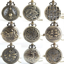 Antique Gift Bronze Tone Men Pocket Chain Quartz Pendant Watch Necklace new et