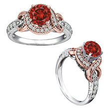 1.25 Carat Red Round Diamond Solitaire Engagement Halo Ring 14K White Gold