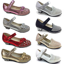 girls children kids low heel styles demented bow  party shoes prom shoes