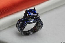 Gothic Blue Sapphire On Black Sterling Silver Engagement Ring And Wedding Band
