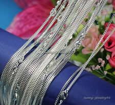 "Wholesale 925 Sterling Solid Silver Plated 1mm Box Chain Necklace 16""-24"""