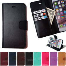 Leather Flip cover credit id card holder  Kick Stand combo purse Pouch lot S