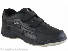 WIDE FIT LEATHER TRAINERS BLACK VELCRO ALL SIZE 6 7 8 9 10 11 12 13 14
