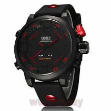 OHSEN Mens LED Date Day Silicone Band Round Dial Alarm Sport Quartz Wrist Watch