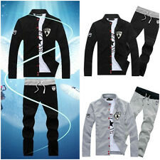 Vogue Mens Black&Gray Front Open Sports Track Suits Athletic Apparel Sweats Pant
