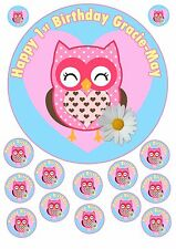"Edible Icing 7.5"" Round Personalised OWLS Cake Topper + 12 extra's for Cupcakes"