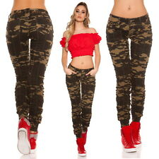 Women's Cuff Ankle Camouflage Skinny Pant + Belt - S / M / L / XL
