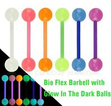"""1pc. 14G~5/8"""" Bio Flex Barbell with Glow In The Dark Balls Tongue Ring Barbell"""
