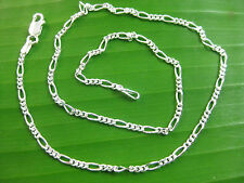 MADE IN ITALY 925 Sterling Silver 2mm FIGARO unisex CHAIN necklace 35cm - 60cm