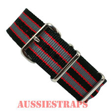 NATO G10 BLACK GREY RED Bond  military diver's watch strap band 4 RING NYLON