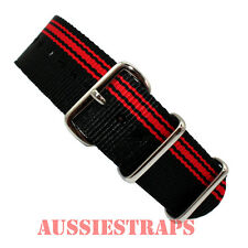 NATO G10 BLACK RED Stripes 4 RING NYLON military diver's watch strap band