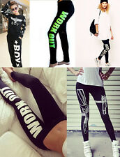 Fashion Punk Style Sexy Women Bottoms Printed Pattern Slogan Tights Pants Sport