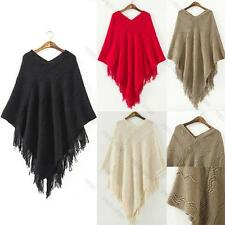 Women Batwing Cape Poncho Knit Top Cardigan Pull Over Sweater Coat Outwear