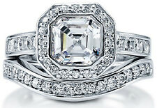 Asscher Cut Halo Cubic Zirconia CZ Sterling Silver Engagement Wedding Ring Band