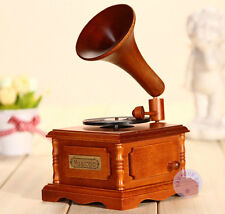 Wooden Gramophone Music box from Sankyo Musical Movement with about 20 Melodies