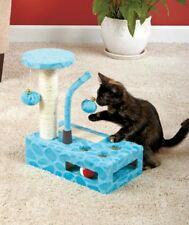 CAT GATO PLAY GYM TOY JUEGO BLUE AZUL PINK ROSA OR BROWN CAFE WITH SISAL POST