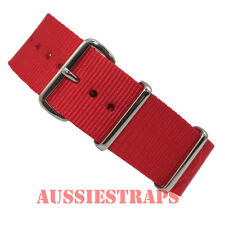 NATO G10 RED armed military forces diver's watch strap band 4 Ring NYLON