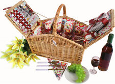 WICKER PICNIC BASKET FOR 4 PERSON PICNIC HAMPER