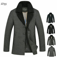 2014 Men's Woolen Winter Jackets Mid-long Peacoats Slim Lapel Casual Warm Parkas