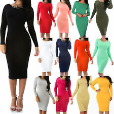 New Sexy Solid Fitted Long Sleeve Bodycon Stretch Mid Calf Dress Size SML GT5639