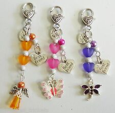 Best Friend I love You Heart Butterfly Dragonfly Angel Bag Charm Keyring Keeper