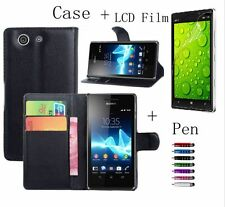 Flip PU Leather Magnetic Card Wallet Stand Case Cover For Phone + LCD Film + Pen