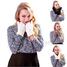 Womens Warm Soft Crochet Winter Cable Knit Twist Mittens Thick Gloves Hand Wrist