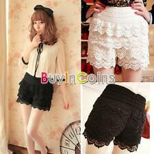 Hot Casual Sweet Womens Shorts Cute Crochet Tiered Lace Short Skirts Pants