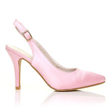 FAITH Baby Pink Satin Stiletto High Heel Slingback Bridal Court Shoes