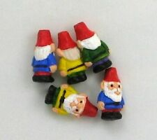 "Hand Painted Ceramic Beads, 1/2"" Multi-color Garden Gnome Design, New"