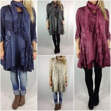 Ladies Quirky Lagenlook Scarf Mohair Wool Tunic Lace Dress Top Pink plus size