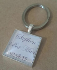 PERSONALISED THANK YOU GIFT KEYRING KEY RING QUALITY BEST MAN PAGE BOY GROOMSMAN