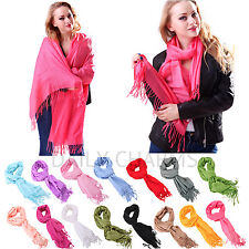 Womens Cashmere Solid Color Pashmina Silk Scarves Tassels Scarf Wrap Shawl Stole