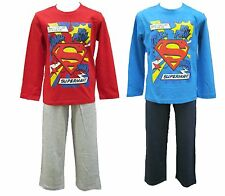 Boys Superman Long Sleeved Cotton Pyjamas   3 4 5 6 7 8 Years