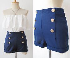 NAVY rockabilly Hotpants PINUP High Waist Sailor Nautical SHORTS festival S M