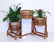 Rattan Wicker Plant Stand in Colonial (Light Brown) Color for 3 Flower Pots