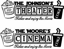Cinema or Theater Personalized Sign with Popcorn and Coke graphics vinyl mural