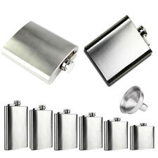 Men's 6 8 10 18 oz Liquor Stainless Steel Pocket Screw Cap Hip Flask with Funnel