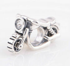 Sterling Silver 925 European Charm Motorcycle Bike w/ Clear CZ Bead 88585
