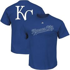 Kansas City Royals Official Wordmark Script Logo Faux Stitch Blue T Shirt Men's