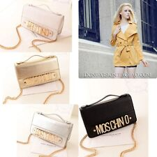 Korean Womens NIce Shoulder Bag Message Bag Chain Moschino English Letter Decor